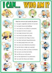 can or can't esl matching exercise worksheet with jobs theme for kids icon