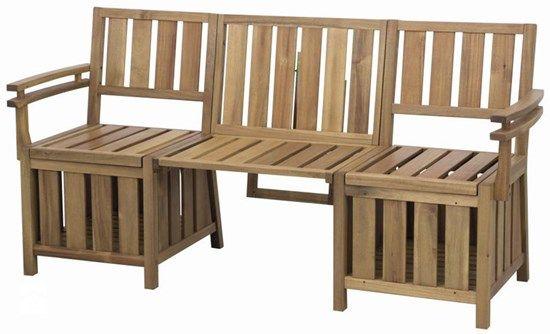 Drewniana ławka balkonowa ze skrzyniami Copenhagen. - zdjęcie od meblefann.pl