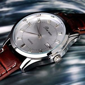 MEN'S Vintage Stainless Steel Calendar Dial Leather Business Quartz Wrist Watch   eBay