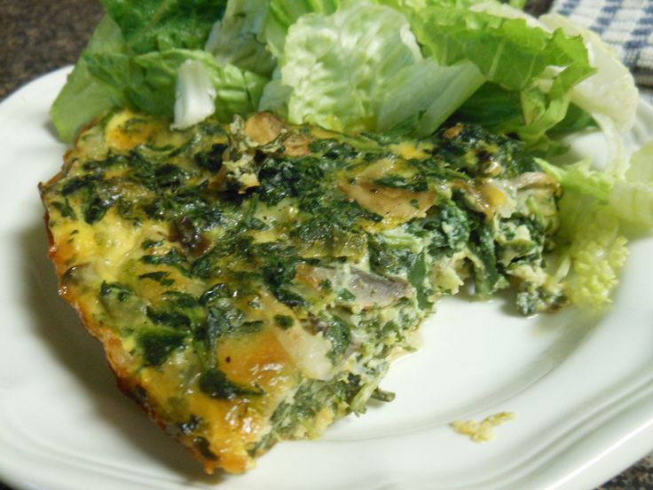 Spinach & Mushroom Crustless Quiche | Recipes-Brunch/Breakfast ideas ...