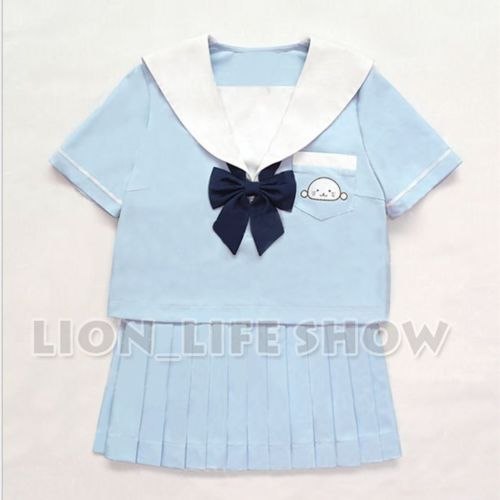 ==> [Free Shipping] Buy Best Japanese JK Women Blue Seal Short Sleeve Pleated Skirt Sailor School Uniform Online with LOWEST Price | 32674967539