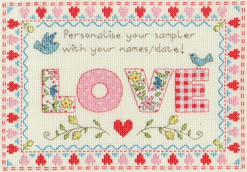 Love Sampler Cross stitch Kit by Bothy Threads