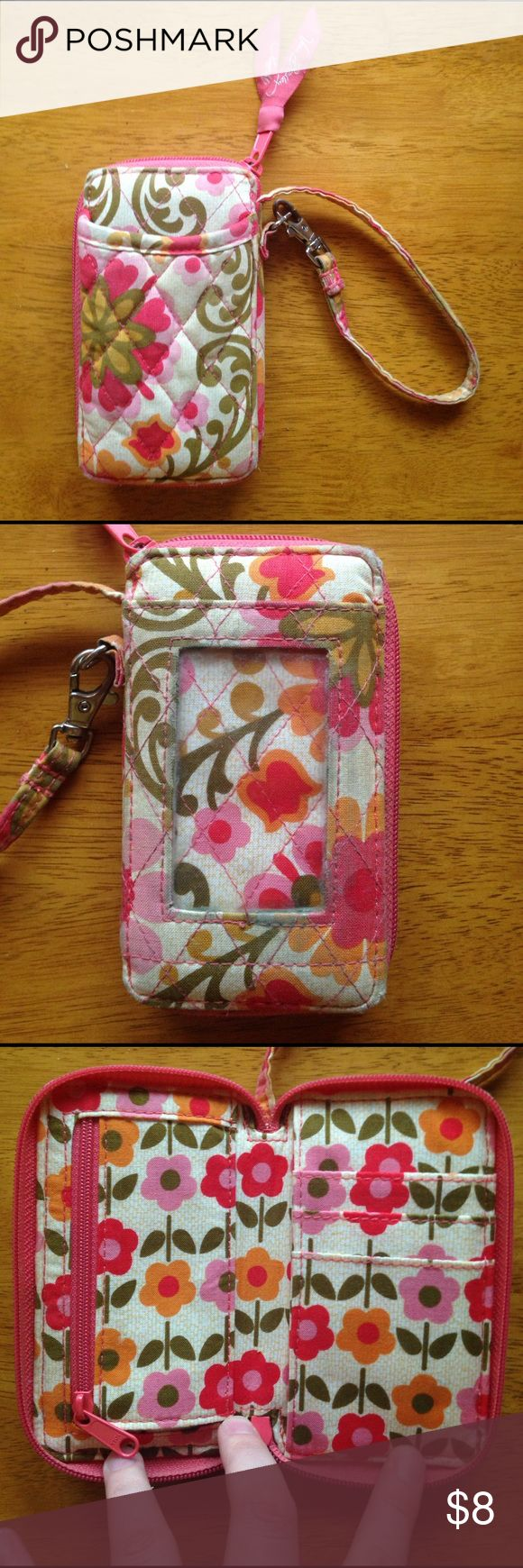 Vera Bradley clutch/wallet Great pattern! Normal wear and gently used condition. Some wear around the ID slot; see picture. Holds a phone and opens into a wallet. Can only do 5% off of two. All money going towards my mission trip. Thank you! Vera Bradley Bags Clutches & Wristlets