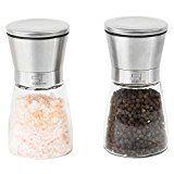 SILBERTHAL Gewürzmühlen Set Medium   2 tlg.   Pfeffermühle & Salzmühle   verstellbares Keramikmahlwerk   Edelstahl & Glasgehäuse