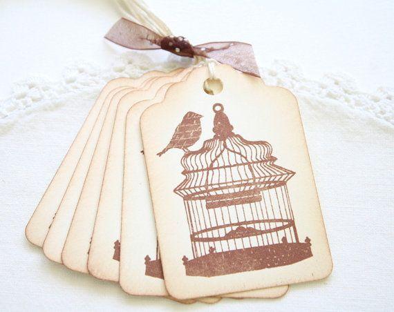 Gift Tags Vintage Bird and Birdcage Sepia Tags Birthdays Wedding ...
