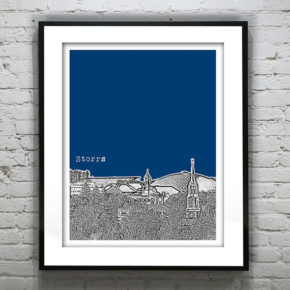 Storrs Connecticut UConn Poster Print Art Skyline University of Connecticut CT - Pinterest Yifei He, University of Connecticut | UCONN Law.  #UCONN #UniversityofConnecticut #CollegeCampus