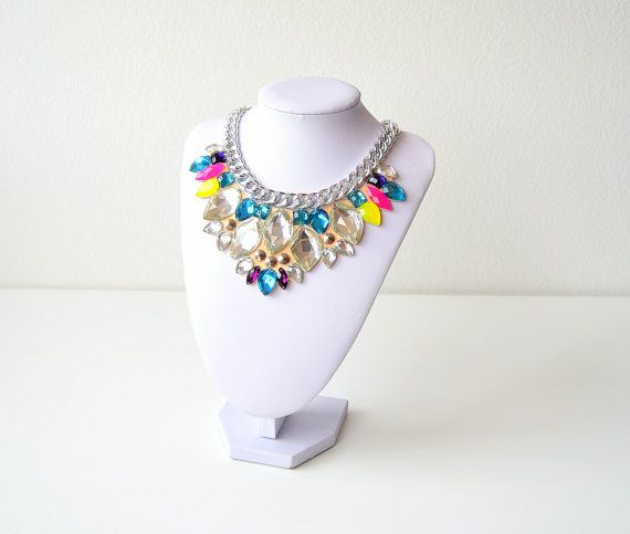 Silver Rhinestone Gem Crystal Statement Necklace by GemsOver