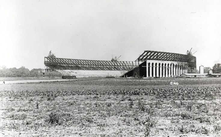 This photograph was taken during the construction of the Ohio Stadium in 1922. Ohio Stadium was the first double-deck horseshoe stadium in the country.