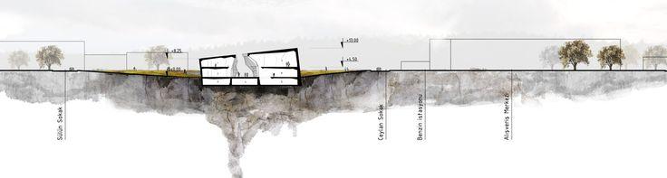 slasharchitects Çanakkale War Research Center 09 #slasharchitects #architecture #competition #researchcenter #concept #section #drawing #presentation