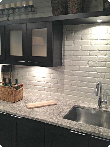 painted brick backsplash, possible faux brick panels painted white