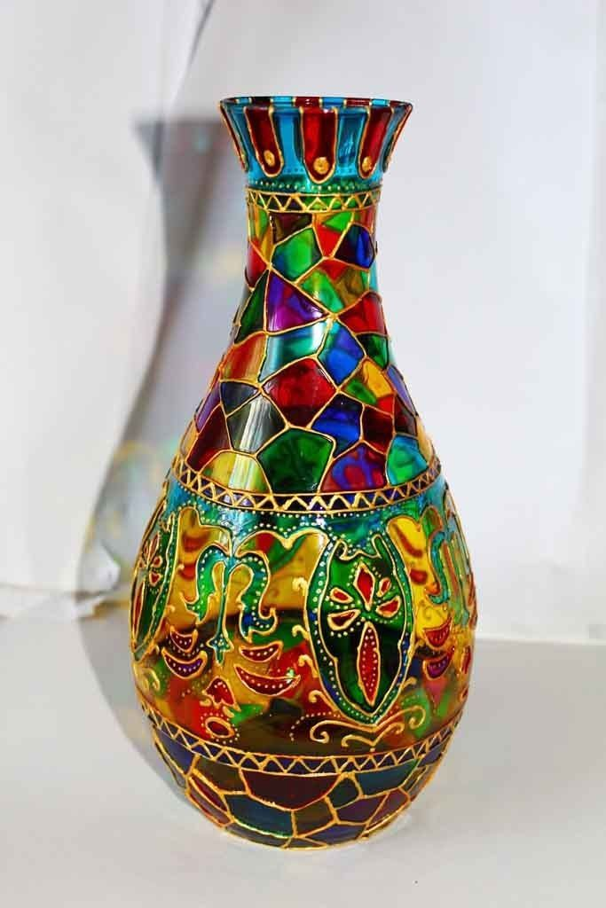 17 best images about on pinterest ceramic vase for Hand painted glass bottles