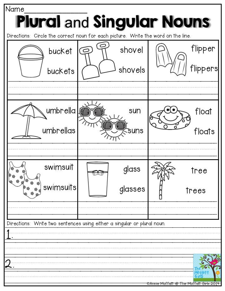 Plural and Singular Nouns- Circle the correct noun for each picture and write the word on the line.  Perfect activity for keeping grammar skills sharp among 1st grade students during the summer!