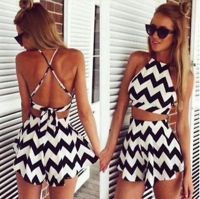 2015 Sexy Women Fashion Wave Stripe Cropped Shirt Two Piece Dress Short Jumpsuit