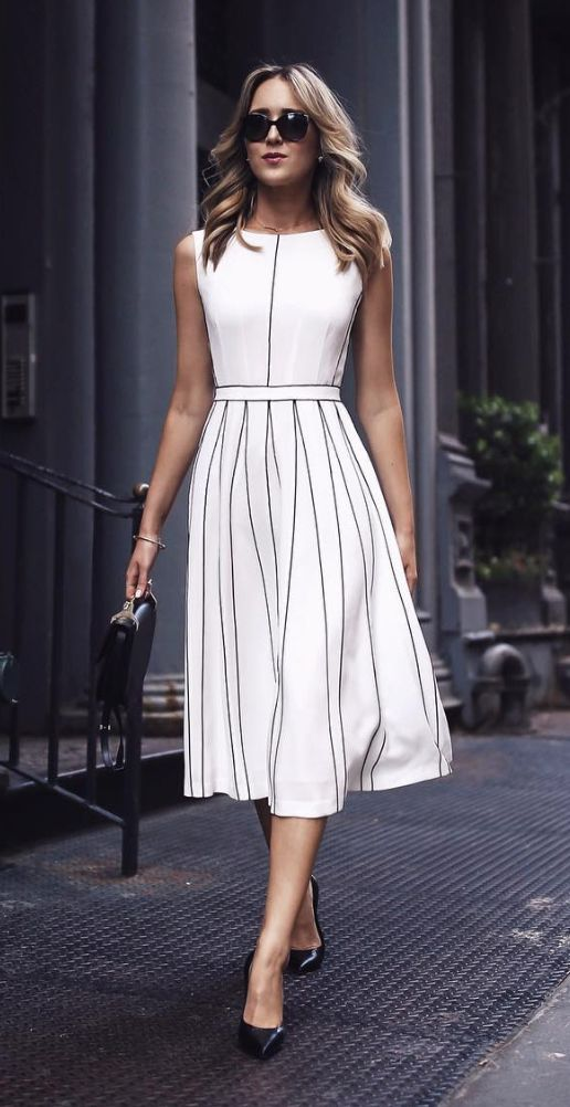 white midi dress -- I love the style and fit of this dress. Classy and versatile.