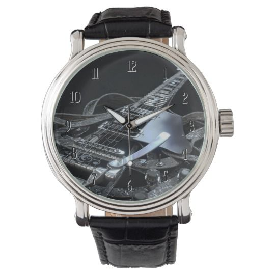 Silver Grey Electric Guitar Wrist Watch