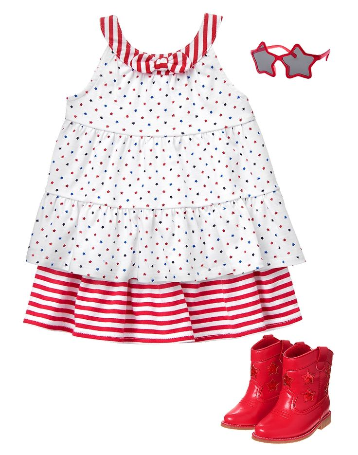 Gymboree Toddler Girl Red White & Cute Stars and Stripes Outfit