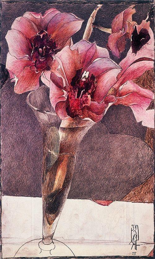"""Janssen, Horst  1929 - 1995   """"Rote Orchidee""""   Druck  Handsigniert mit Bleistiftmonogramm   Blumen   42 x 29,5 cm"""