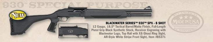 """This is the new Blackwater Series 930 SPX 8 shot tactical 12 Gauge shotgun it has an 18.5"""" barrel, pistol grip and synthetic stock. If you were to ask most trainers in home defence they would tell you that a shotgun like this is one of the first type of firearm you should have for home defense. It is hard to miss your target and it is very intimidating weapon against an uninvited intruder into your home."""