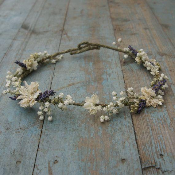 Lavender Twist Baby's Breath Dried Flower Hair Crown