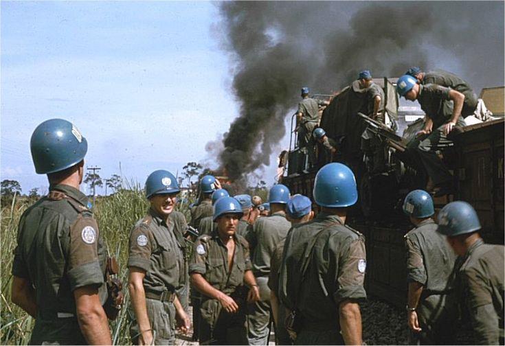 Under förflyttning av hela bataljonen, som skedde med tåg, från Kaminabasen till staden Luluabourg (numera Kananga) tog en vagn eld. Tåget drogs av ånglok och förbränt kol rakades ut på banvallen mellan skenorna, fortfarande glödheta. Då sedan en vagn passerade kolen, lastad med en bil med läckande bensintank, tog vagnen med last eld.