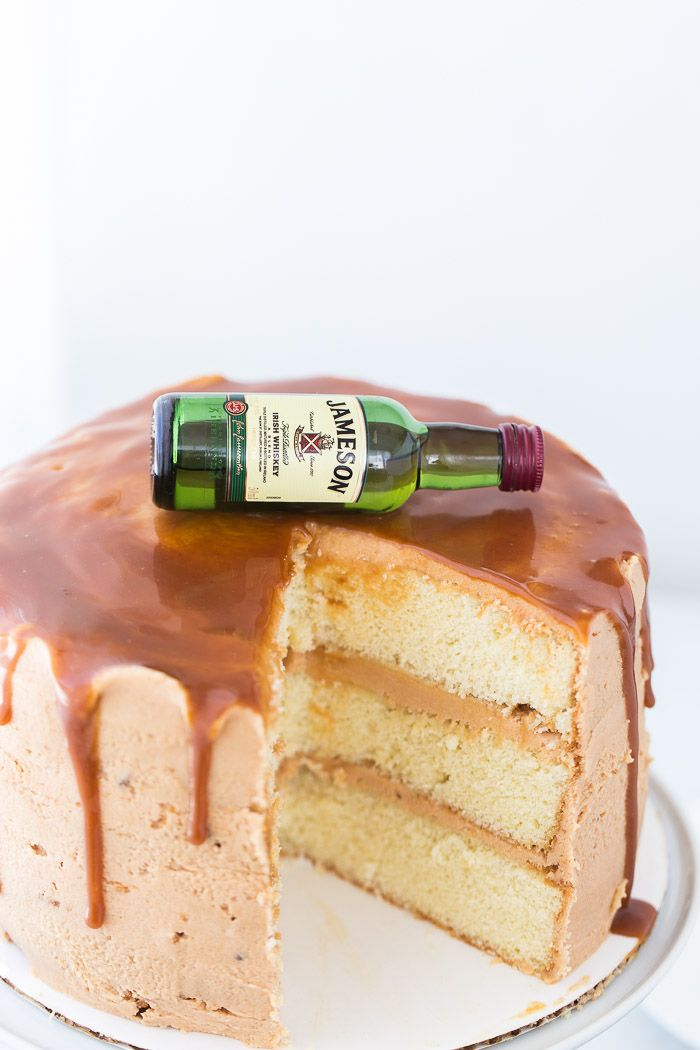 Drunken Whiskey Caramel Cake is a buttery, moist cake with Jameson whiskey in the batter and a sweet, caramel frosting. Completely divine!