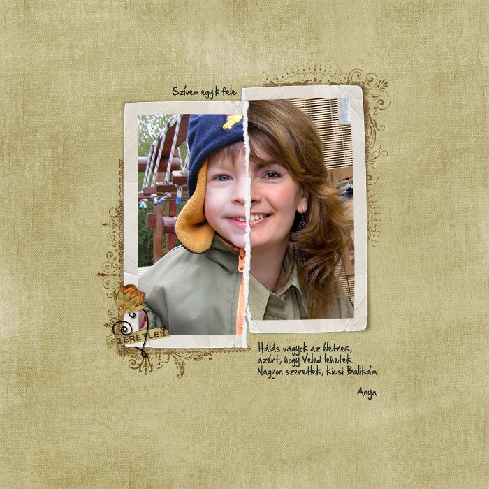#Papercraft #Scrapbook #Layout. Tear 2 pictures in half and compare the same person as a child and as an adult.