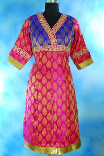 Beautiful design Brocade Magenta Blue Anarkali with Contrast zari embroidered border at chest.