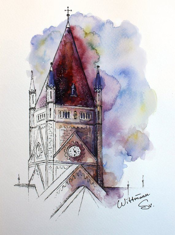 Original Architecture Sketch Watercolor Painting On Aquarell