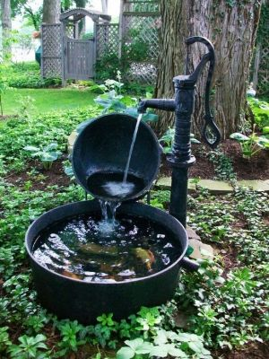 Hand Pump  Whiskey Barrel Water Feature