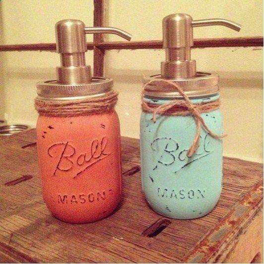 Soap Dispenser: paint mason jars with chalk paint and rub sandpaper over it to make it more rustic. .