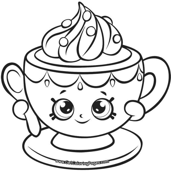 Shopkins 7 Tiny Teacup Coloring Page Di 2020 Warna