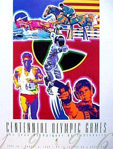 Atlanta 1996 OLYMPICS MODERN PENTATHLON Poster by Hiro Yamagata - available at www.sportsposterwarehouse.com