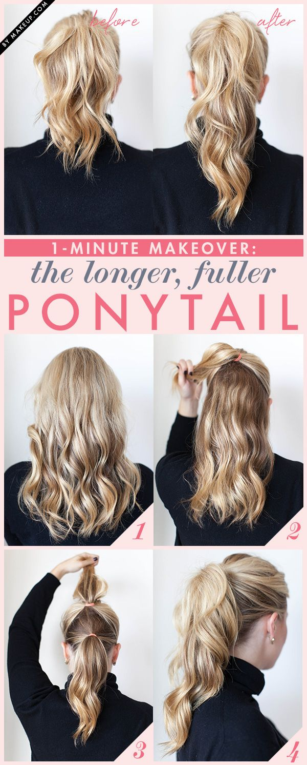 Four quick steps pump up an average ponytail into a fuller, longer-looking version.Via: Makeup.com