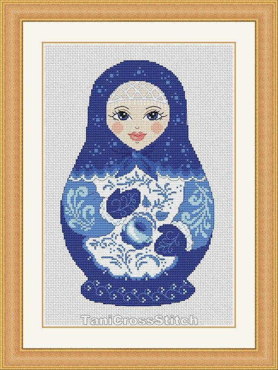 Cross stitch pattern Russian doll matryoshka от TaniCrossStitch, $7.50