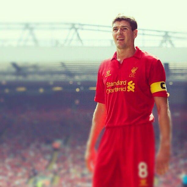 Liverpool Captain Steven Gerrard with The Kop as a backdrop #LFC
