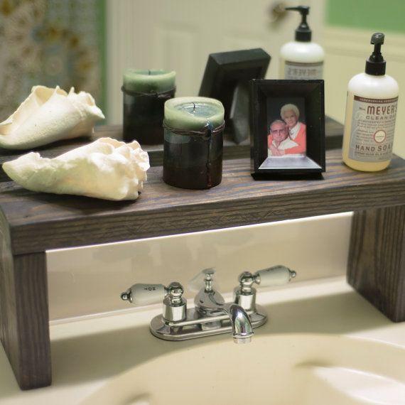 Rustic Wood Shelf Bathroom Sink Shelf Moden Farmhouse Bathroom