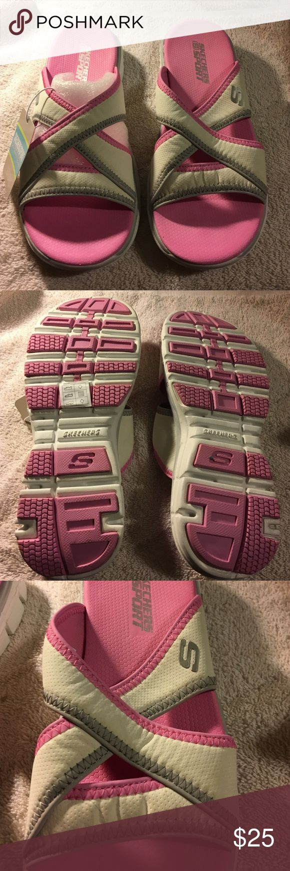 Pink Skechers slippers Perfect for after swimming or the beach. Good sole, never worn and brand new. Skechers Shoes Slippers