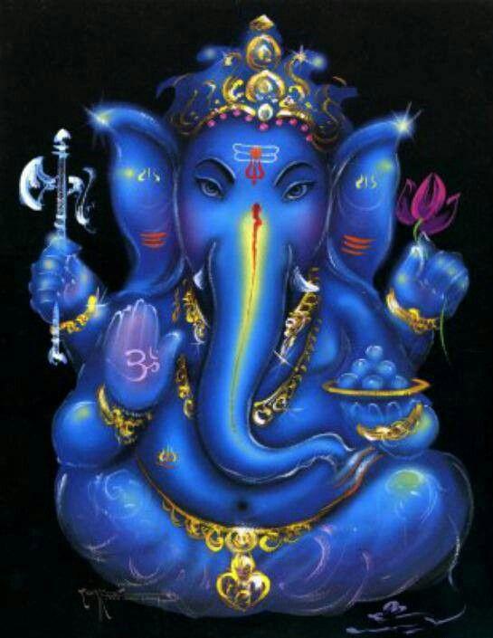 Blue Ganesha ~ Remover of Obstacles. Om Gam Ganapataye Namaha. Namasté