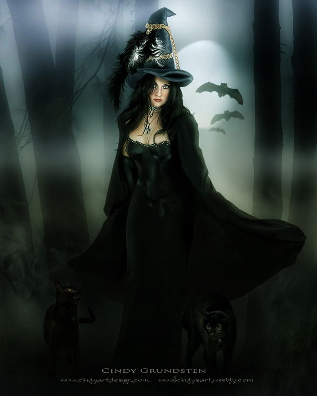 Beautiful Witchcraft, Dark and Lovely, powerful and strong!Fantasy Girl, Black Cat, Beautiful Witch