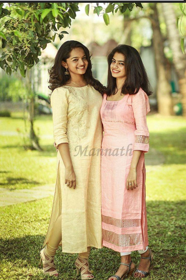 Linen kurthi with Applique work & peachish pink linen kurthi