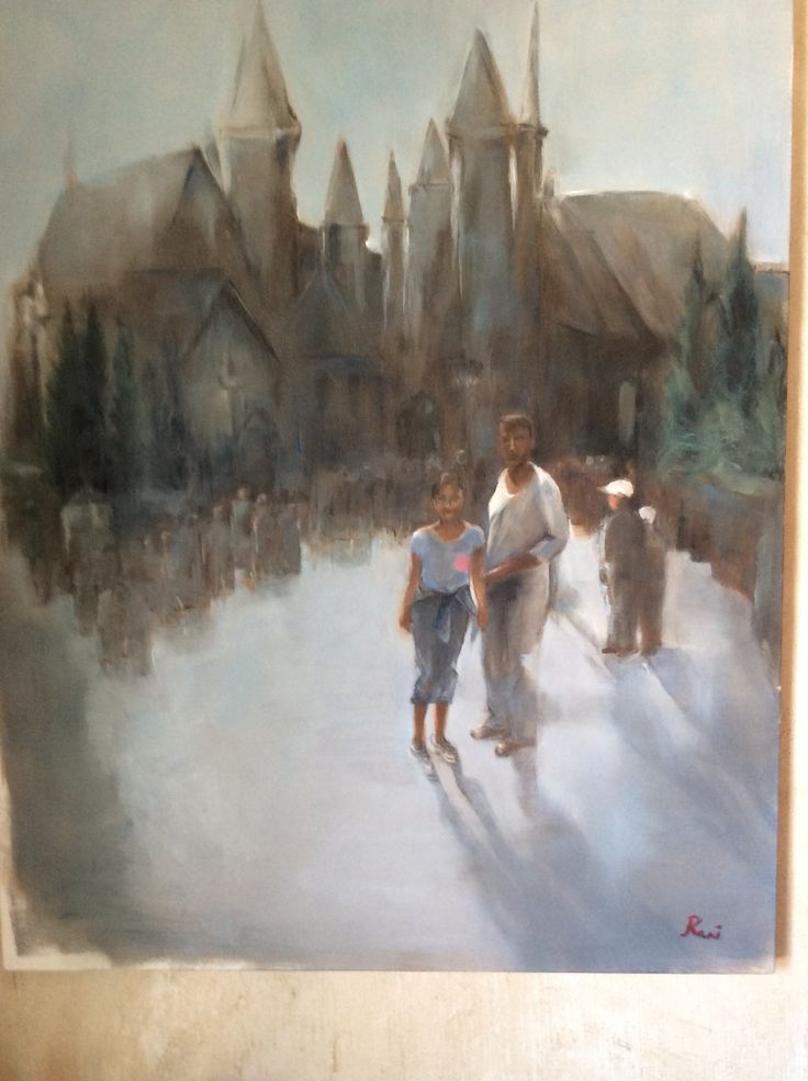 Harry Potter theme park Orlando oil on canvas
