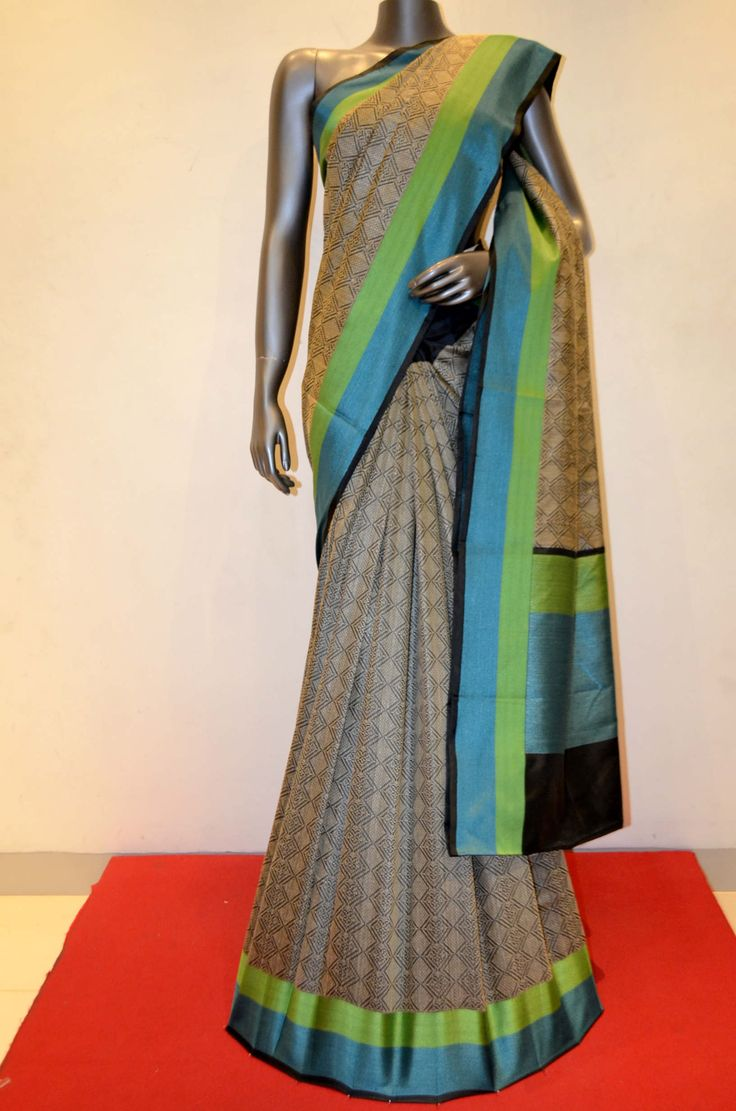 Designer Soft Hand Woven Tussar Silk Saree Product Code: AB206934 Onine Shopping: http://www.janardhanasilk.com/Saree-Collections/Tussar-Silk-Saree?product_id=3362&limit=25