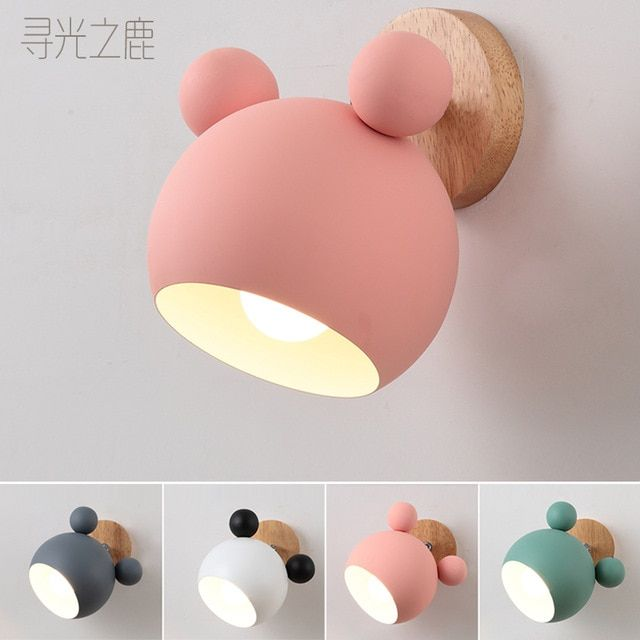 Led Wall Lamps Cartoon E27 Macaron Background Wall Light For