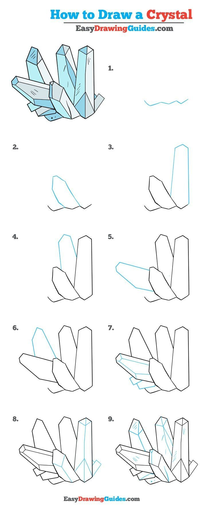 Learn How to Draw Crystals: Easy Step-by-Step Drawing Tutorial for Kids and Beginners. #Crystals #drawingtutorial #easydrawing See the full tutorial at https://easydrawingguides.com/how-to-draw-crystals-really-easy-drawing-tutorial/.