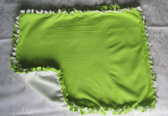 Cute large toy green and white fleece tie by BriersBlankets