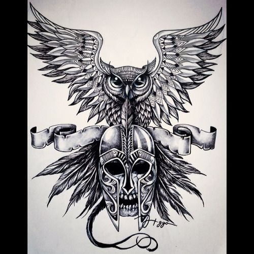 Arte final - Queen of the night  #noite #coruja #ink #ilustra #ideia #tattoo…