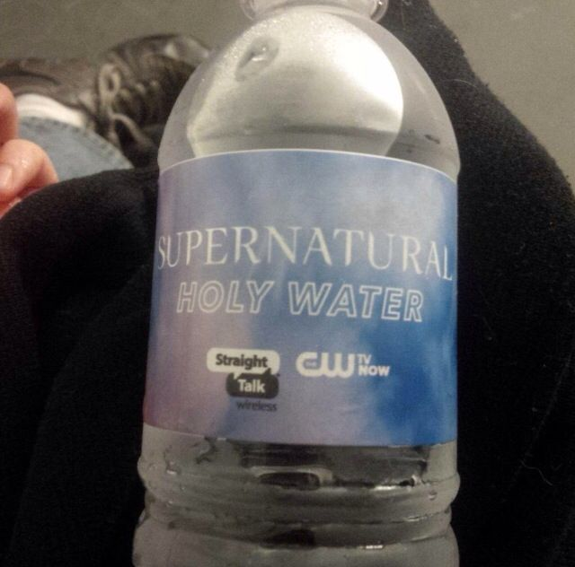 They labeled the water bottles as Holy Water at the SPN 200th episode party! haha