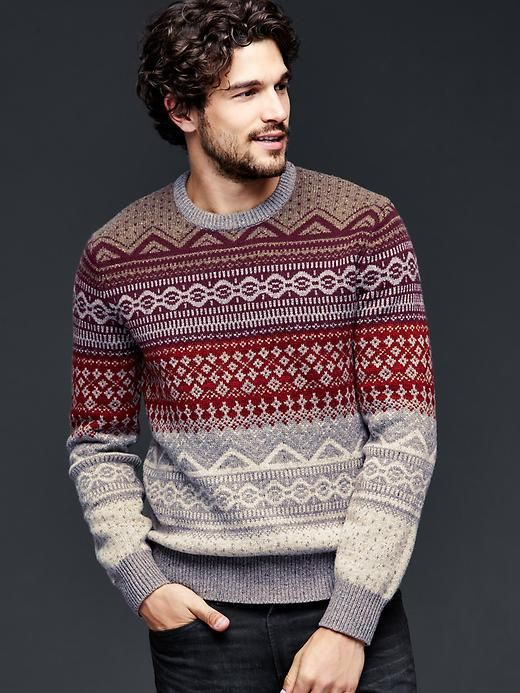 Lambswool fair isle crew sweater Product Image