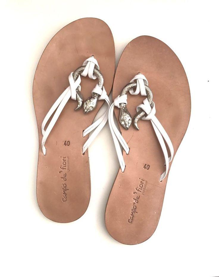 White Flat Leather Italian Sandals Silver Rhinestone Snake Campo De' Fiori 9  | eBay