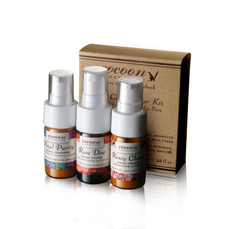 Not ready to commit to a natural skincare routine just yet? Try our starter kit where you get a facial cleanser, moisturizer, and toner from our premier brand Cocoon Apothecary. They only use certified organic ingredients, and are gluten free. They are also environmentally safe and cruelty free.